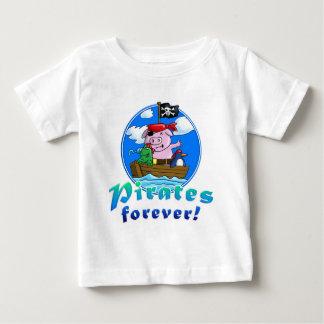 Camiseta Para Bebê pirates forver pig, comic, penguin, frog