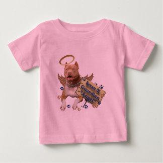 Camiseta Para Bebê Pitbull Beware do anjo-da-guarda