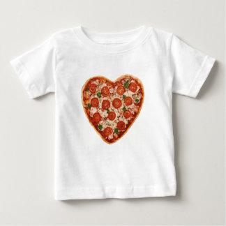 Camiseta Para Bebê pizza dada forma coração