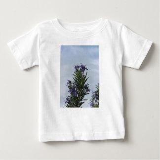 Camiseta Para Bebê Planta de Rosemary com as flores contra o céu