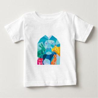 Camiseta Para Bebê Polígono da cabra do cão do cavalo do gato do