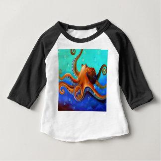 Camiseta Para Bebê Polvo alaranjado