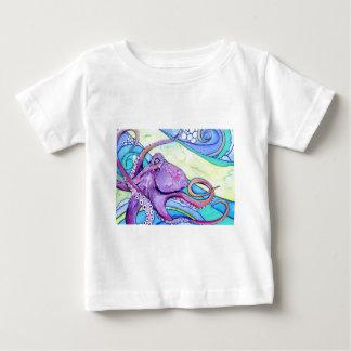 Camiseta Para Bebê Polvo de Surfin