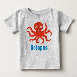 Camiseta Para Bebê Polvo no t-shirt do jérsei da multa do bebê