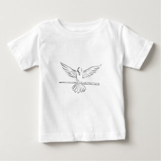 Camiseta Para Bebê Pomba subindo que embreia o desenho dianteiro dos