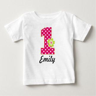 Camiseta Para Bebê Pontos do rosa quente & do verde da menina do