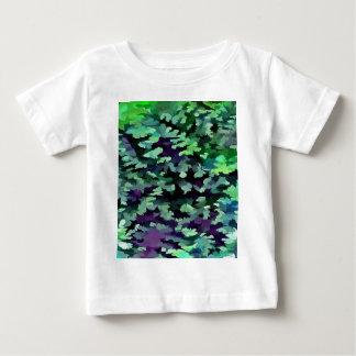 Camiseta Para Bebê Pop art abstrato da folha no verde e no roxo de