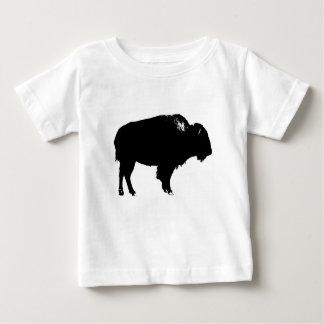 Camiseta Para Bebê Pop art preto & branco da silhueta do búfalo do