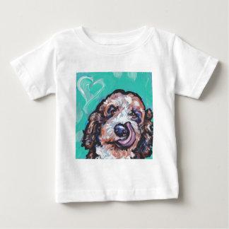 Camiseta Para Bebê Pop colorido brilhante AR do cão de Labradoodle do