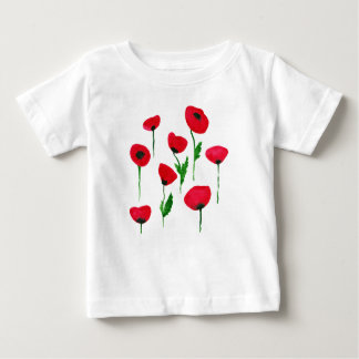 Camiseta Para Bebê poppys da aguarela