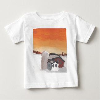 Camiseta Para Bebê por do sol do sol da casa da fazenda do celeiro
