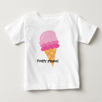 Camiseta Para Bebê Por favor T cor-de-rosa bonito do verão do sorvete
