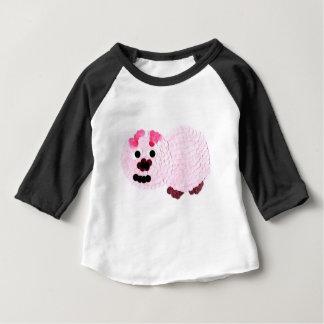 Camiseta Para Bebê Porco cor-de-rosa