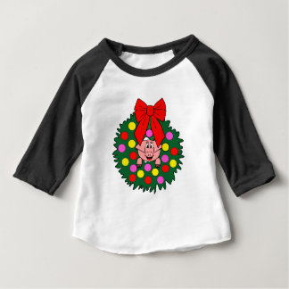 Camiseta Para Bebê Porco na grinalda do Natal