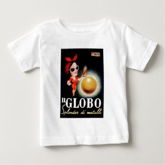 Camiseta Para Bebê Poster 1949 italiano da propaganda do IL Globo