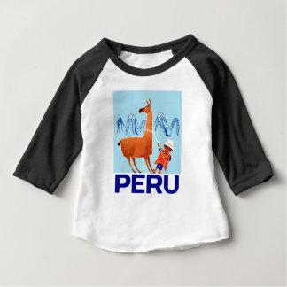 Camiseta Para Bebê Poster de viagens de Peru da criança e do lama do