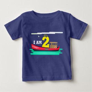 Camiseta Para Bebê Pouco aniversário vermelho do barco