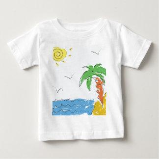 Camiseta Para Bebê Praia do desenho com palmeira