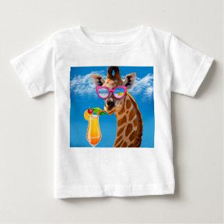 Camiseta Para Bebê Praia do girafa - girafa engraçado