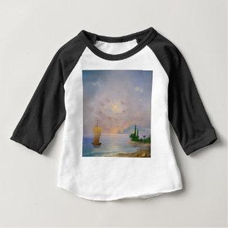Camiseta Para Bebê Praia macia do por do sol (todos)