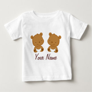 Camiseta Para Bebê Presente personalizado do bebê urso gêmeo