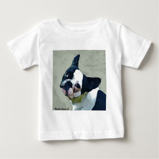 Camiseta Para Bebê Preto/branco do buldogue francês