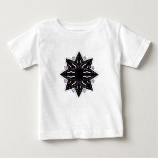 Camiseta Para Bebê Preto luxuoso do ornamento no branco
