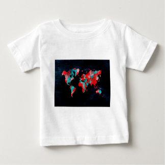 Camiseta Para Bebê preto vermelho do mapa do mundo