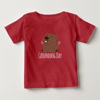 Camiseta Para Bebê Primavera feliz de Punxsutawney Phil do dia de