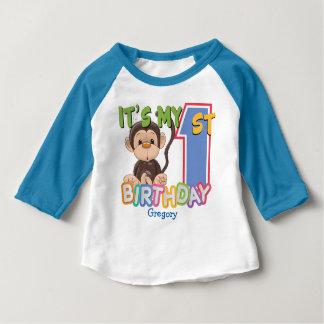 Camiseta Para Bebê Primeiro aniversario bonito do macaco