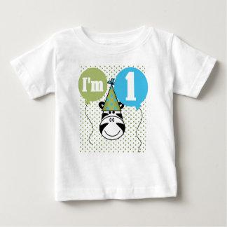 Camiseta Para Bebê Primeiro aniversário da zebra