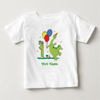 Camiseta Para Bebê Primeiro aniversário de Dino personalizado