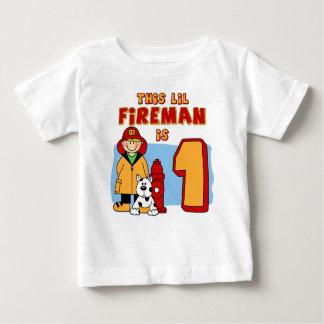 Camiseta Para Bebê Primeiro aniversario do bombeiro de Lil