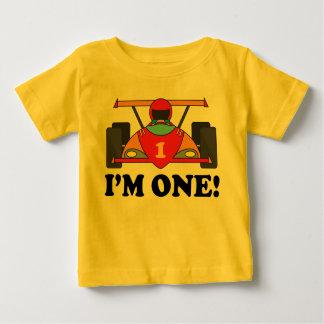 Camiseta Para Bebê Primeiro aniversario do carro de corridas eu sou