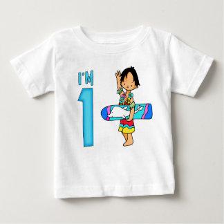 Camiseta Para Bebê Primeiro aniversario do gajo do surfista