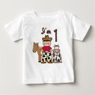 Camiseta Para Bebê Primeiro aniversário do vaqueiro