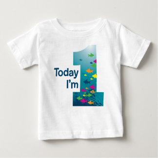 Camiseta Para Bebê Primeiro aniversario dos peixes