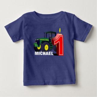 Camiseta Para Bebê Primeiro aniversário personalizado do trator verde