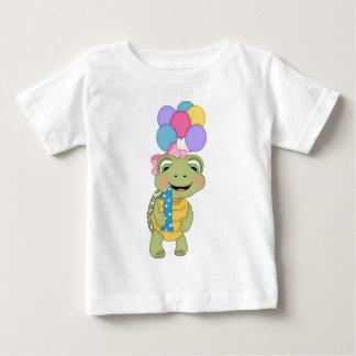 Camiseta Para Bebê Primeiro t-shirt da tartaruga do aniversário