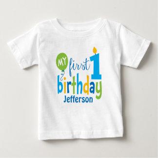 Camiseta Para Bebê Primeiro Tshirt do aniversário personalizado