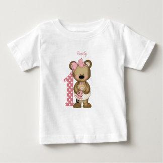 Camiseta Para Bebê Primeiro urso de ursinho da menina do aniversário