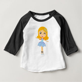 Camiseta Para Bebê Princesa azul t-shirt bonitos da bailarina