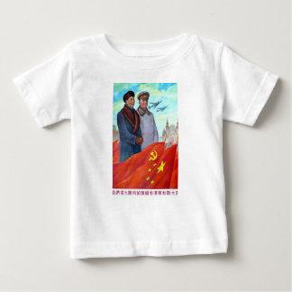 Camiseta Para Bebê Propaganda original Mao Zedong e Josef Stalin