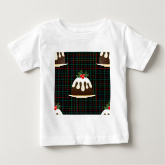 Camiseta Para Bebê pudins do Natal da xadrez
