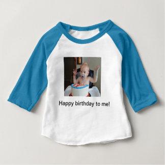 Camiseta Para Bebê Raglan do aniversário