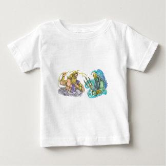 Camiseta Para Bebê Raio de Zeus contra o tatuagem de Poseidon Trident