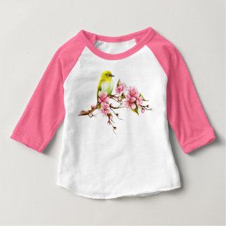 Camiseta Para Bebê Ramo amarelo da flor de cerejeira do pássaro