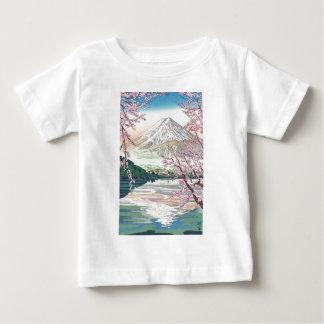 Camiseta Para Bebê Refrigere a arte oriental da árvore de cereja do