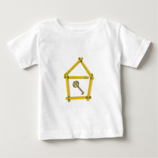 Camiseta Para Bebê régua de dobradura, forma da casa e chave