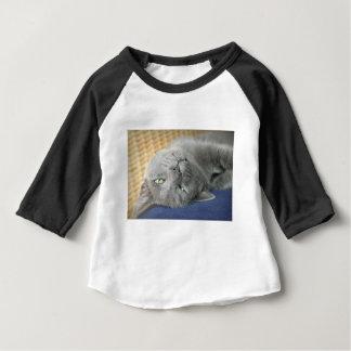 Camiseta Para Bebê Relaxe! T-shirt de ronrom cinzento do bebê do gato